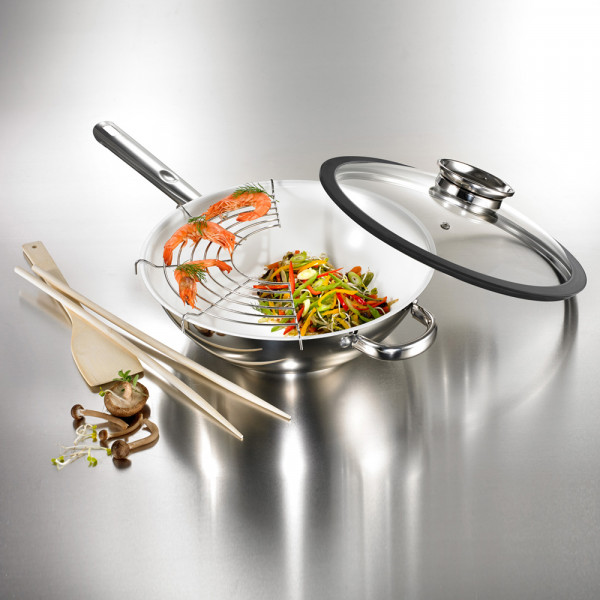 Chromalon Wokset mit Glasdeckel 5-tlg.